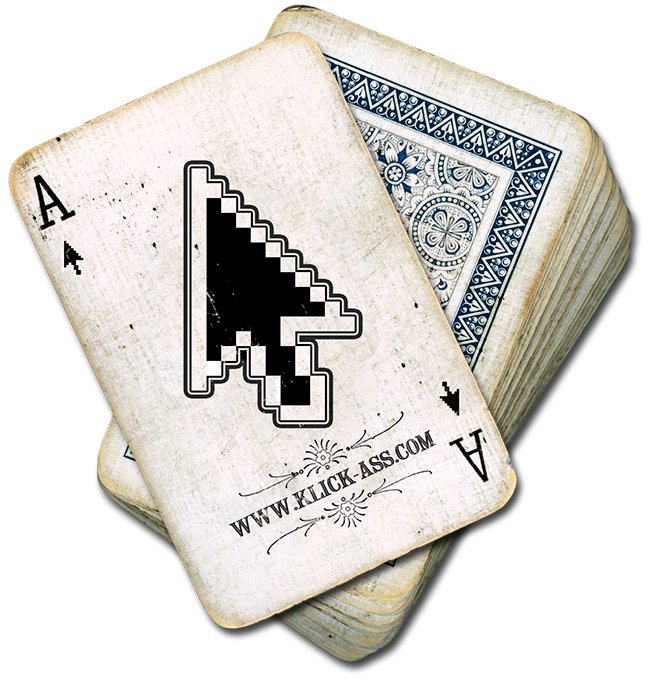 Klick_Ass is playing on words: a combination of the Ace of Spades playing card with a mouse pointer